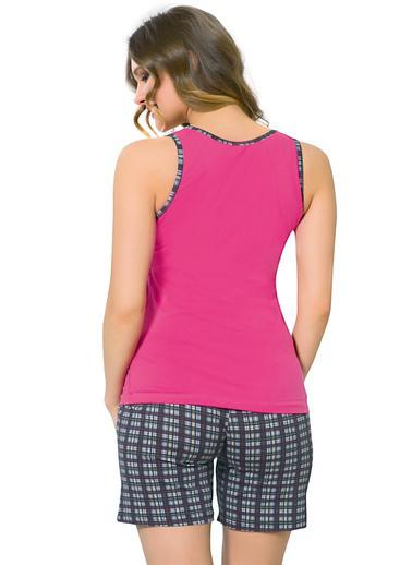 Akbeniz Kadın Kalın Askılı Fuşya Cep Şortlu Pijama Takımı 708 Fuşya